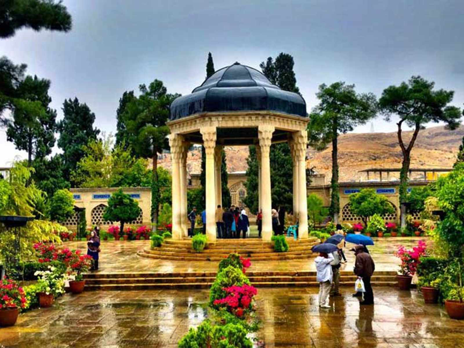 The tomb of Hafez is located north of Shiraz
